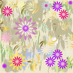 Grunge floral background  (vector)