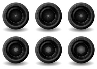 Camera lens with different shutter apertures over white