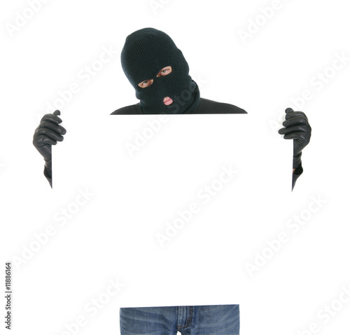 Masked criminal holding a sign - Your message here