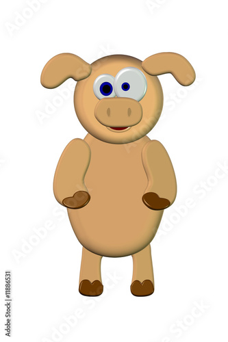3D Piggy Cartoon - Isolated On White