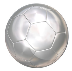 silver soccer ball on white