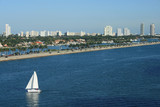 South Beach Miami Florida Panorama with Sailboat