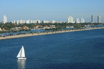 South Beach Miami Florida Panorama with Sailboat