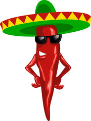 hot mexican chili green sombrero