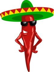 hot mexican chili green sombrero