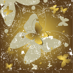 Grunge golden background with  butterflies