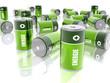 Leinwanddruck Bild - Piles électriques - Energie - Fond Blanc