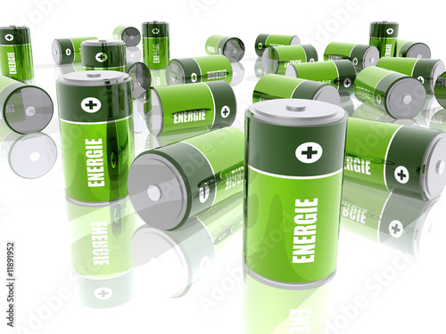 Leinwanddruck Bild Piles électriques - Energie - Fond Blanc