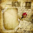 vintage love letter with dry rose