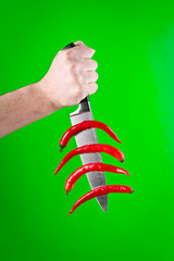 Knife with red peppers