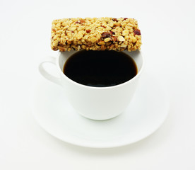 Break time with coffee and an energy bar.