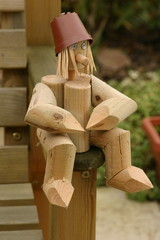 wooden log man
