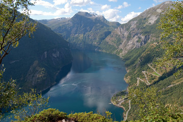 Geiranger fjord in Norway, UNESCO world heritage site