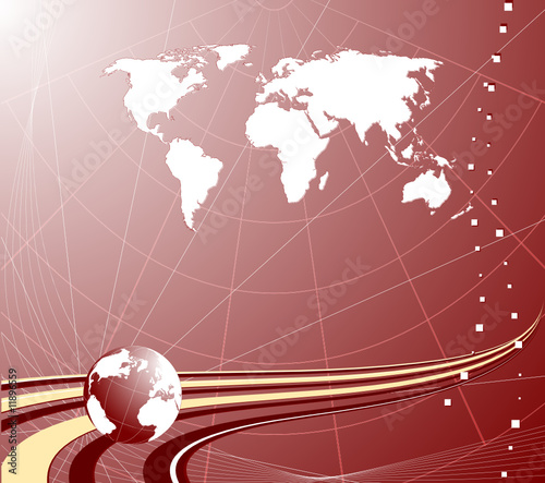 Abstract background with globe and map