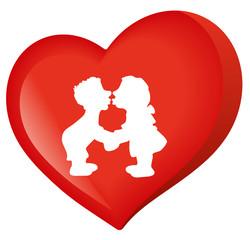 Liebespaar in einem Herz