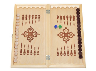 Classic wood backgammon box, isolated