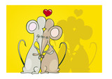 illustration of two mice in love giving a hug poster