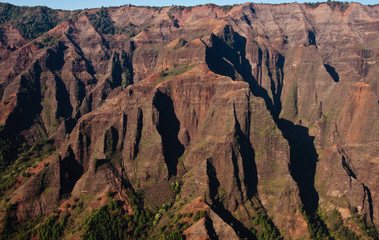 Waimea canyon on Kauai in the sunlight