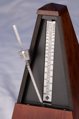 A closeup of a metronome