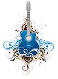 Dark blue guitar