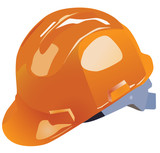 orange vector hardhat construction work on a white background poster