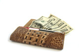 Brown croco  leather wallet full of dollars isolates on white
