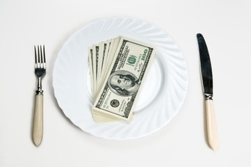 banknotes on a plate