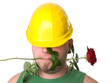 Portrait of a worker with rose.