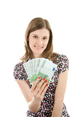 Beautiful girl with euros; isolated on white