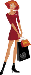 Shopping pretty girl. Vector illustration