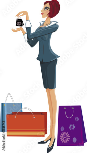Shopping pretty woman. Vector illustration