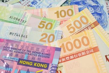 Hong Kong dollar bills closeup