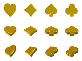 3d icons poker signs golden style