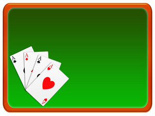 banner green background and gold frame with the aces of poker