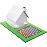 Fototapety Maison blanche chauffée par géothermie (détouré)