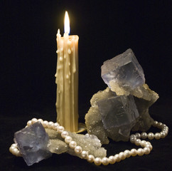 still life  with fluorite and candle
