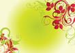 fond floral vert et rouge antique