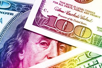 Rainbow dollar bills background