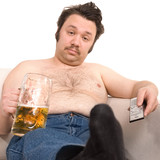 Overweight man on the couch with a beer glass poster