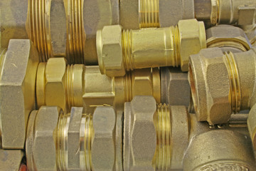 close up plumbers compression fittings