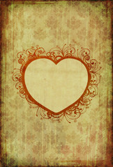 Vintage wallpaper with floral heart