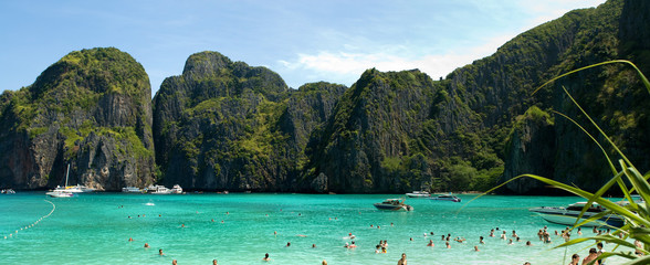 Phi Phi islands lagoon panorama, Thailand