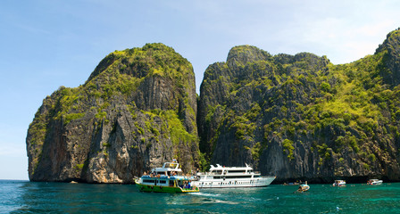 ships at Phi Phi islands lagoon, Thailand