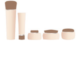 Blank beige luxury cosmetics tubes reflection isolated white