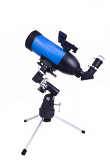 small blue telescope looking up isolated on white