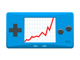 Portable games console with ascending stock market graph poster