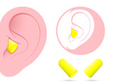 Ear with earplug pictogram poster