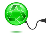 Recycling pictogram with connector poster