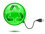 Recycling pictogram with USB plug poster