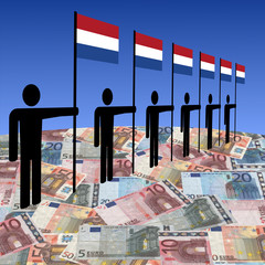 line of men holding Dutch flags on euros illustration
